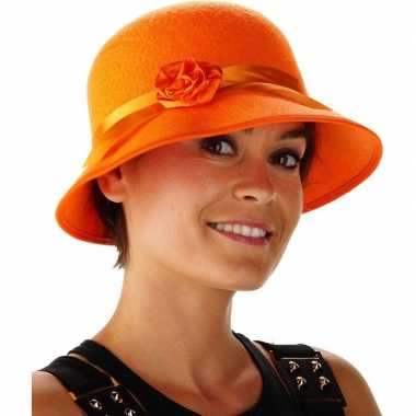 Oranje dames hoedje bea bloem