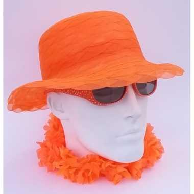 Oranje dameshoed organza stof