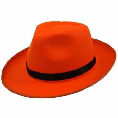 Oranje hoed zwarte bies