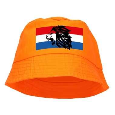 Oranje supporter / koningsdag vissershoedje nederlandse vlag leeuw ek/ wk fans