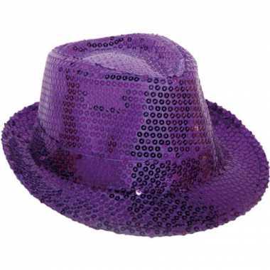 Paarse hoed pailletten