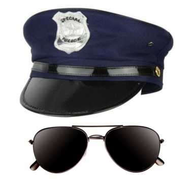 Politie agent verkleed setje pet donkere zonnebril