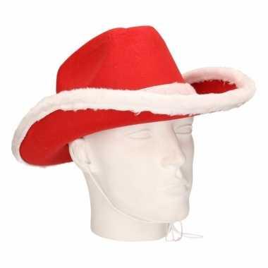 Rode cowboy kersthoed volwassenen