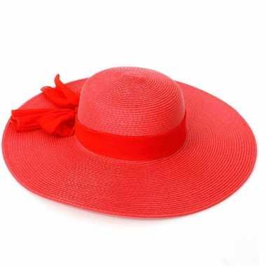 Rode dames hoed strik