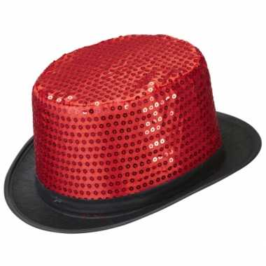 Rode hoge hoed pailletten