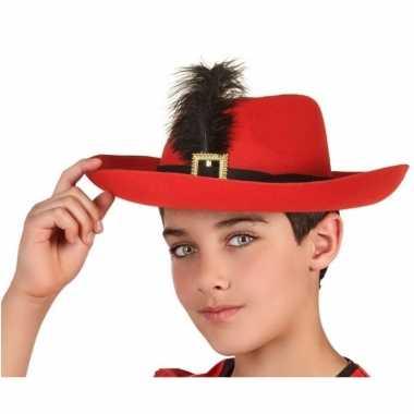 Rode musketier verkleed hoed kinderen