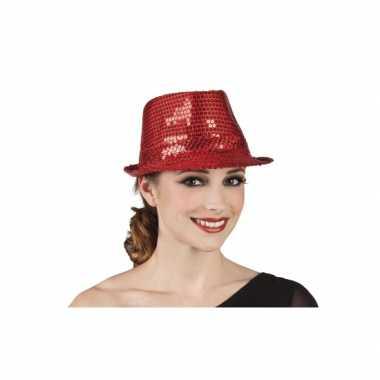 Rode trilby hoed pailletten