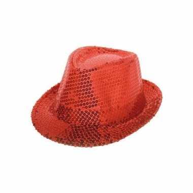 Rood trilby hoedje pailletten