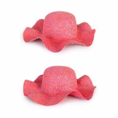 Roze dames hippie/strand hoed