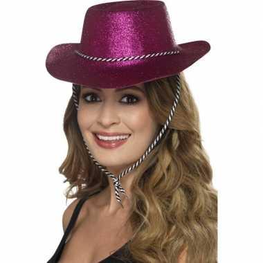 Roze glitter cowboyhoed dames