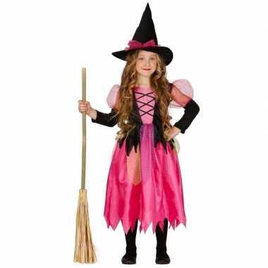 Roze heksen kostuum shiny witch meisjes