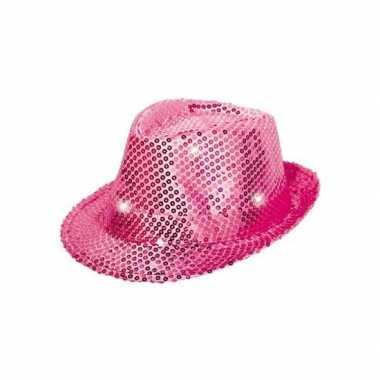 Roze pailletten hoedje led licht