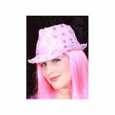 Roze pailletten hoedje volwassenen