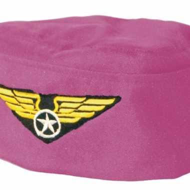 Roze stewardess hoedje logo