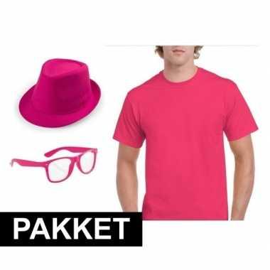 Roze verkleed set heren