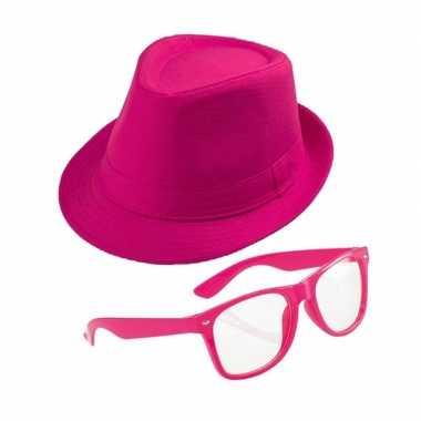 Roze verkleedset trilby hoed zonnebril