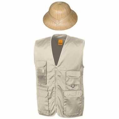 Safari/jungle verkleedset vest hoed beige volwassenen
