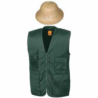 Safari/jungle verkleedset vest hoed groen volwassenen