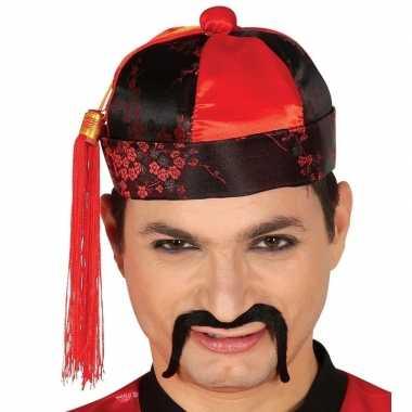Set stuks rood/zwart chinees/mandarin verkleed hoedje