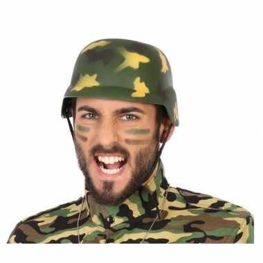 Soldaten verkleed helm camouflage volwassenen