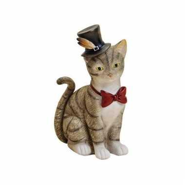 Spaarpot grijze kat/poes hoed strikje
