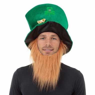 St patricks day groene hoed baard volwassenen