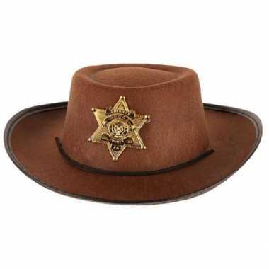 Stoere bruine cowboy hoed kinderen