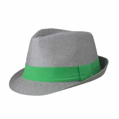 Street style trilby hoedje grijs groen