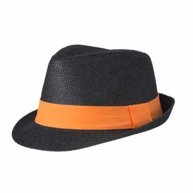 Street style trilby hoedje zwart oranje
