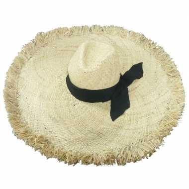 Stro strandhoed/zonnehoed ibiza style geba dames