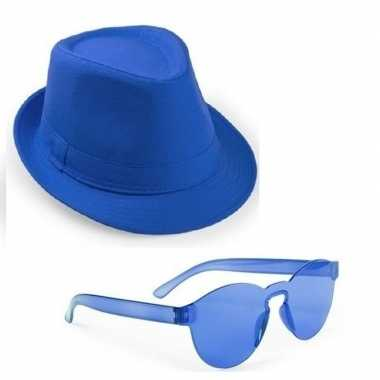 Toppers blauw trilby party hoedje blauwe zonnebril
