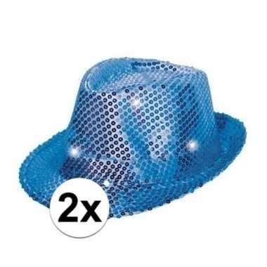 Toppers blauwe pailletten hoedjes led licht