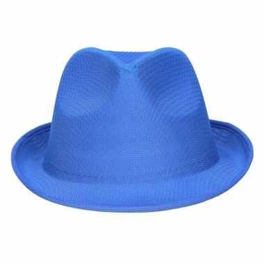 Toppers feest verkleed toppers trilby hoedje gleufhoed blauw