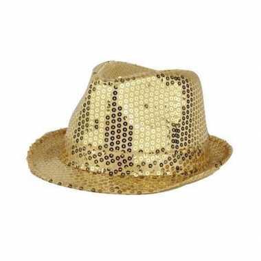 Toppers Gouden hoed pailletten