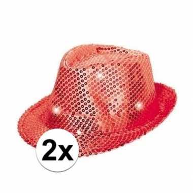 Toppers rode pailletten hoedjes led licht