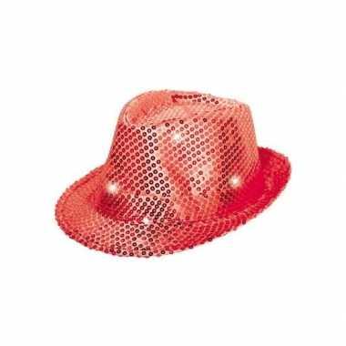Toppers rood pailletten hoedje led licht