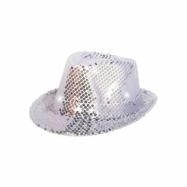 Toppers zilver pailletten hoedje led licht