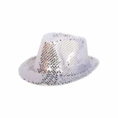 Toppers zilveren trilby glitter party hoedje pailletten