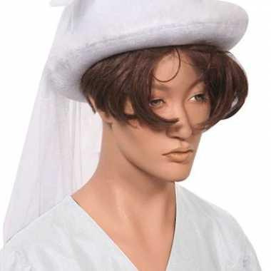 Witte bruidshoed sluier