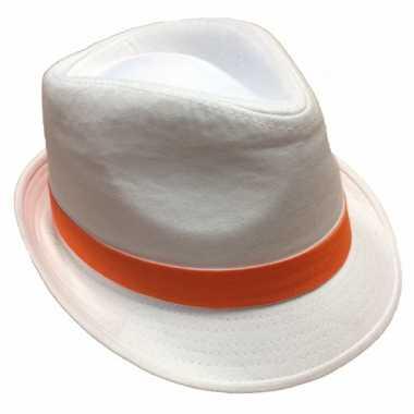 Witte hoed oranje bies