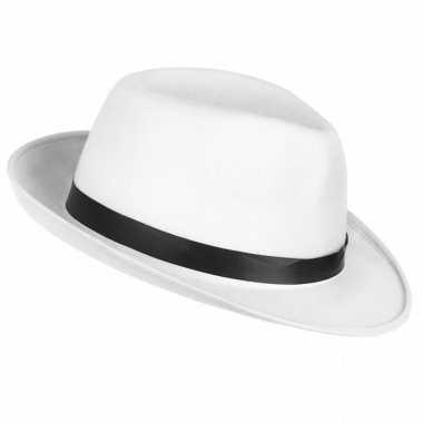 Witte maffia gangster hoed volwassenen