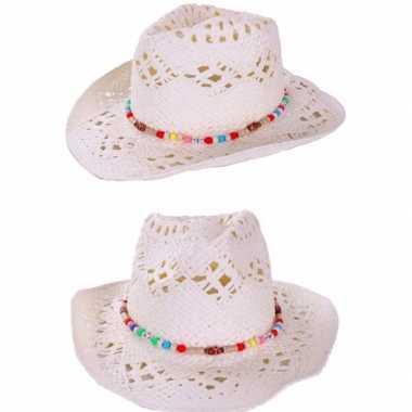Witte zomer hoed kralenbandje