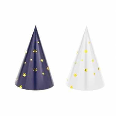 X blauw/witte feesthoedjes oud nieuw/nieuwjaar