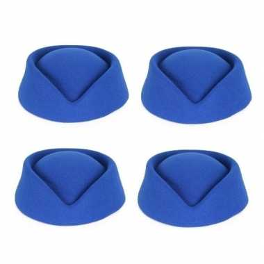X blauwe stewardess hoedjes dames