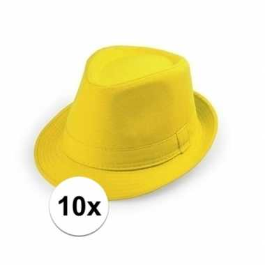 X geel trilby verkleed hoedjes volwassenen