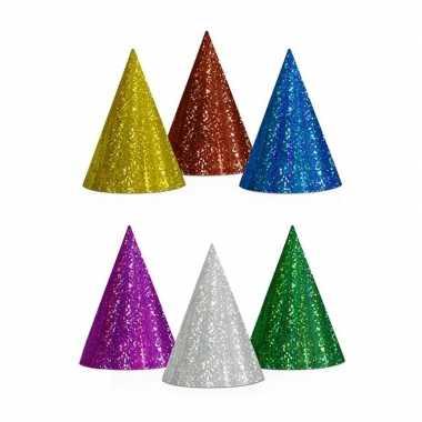 X gekleurde feesthoedjes glitter