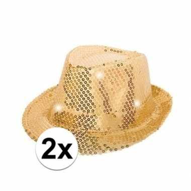 X gouden pailletten hoedjes led licht