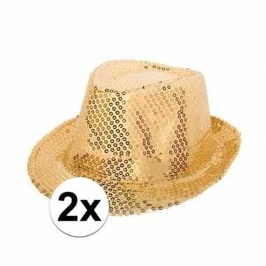 X gouden trilby glitter party hoedjes pailletten