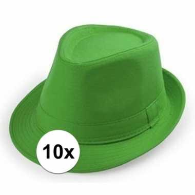 X groen trilby verkleed hoedjes volwassenen