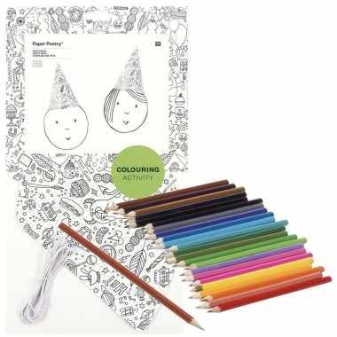 X knutsel papieren feesthoedjes om te kleuren incl. potloden